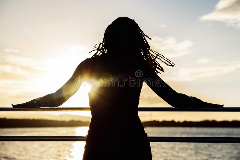 Silhouette, Sky, Sea, Girl stock images