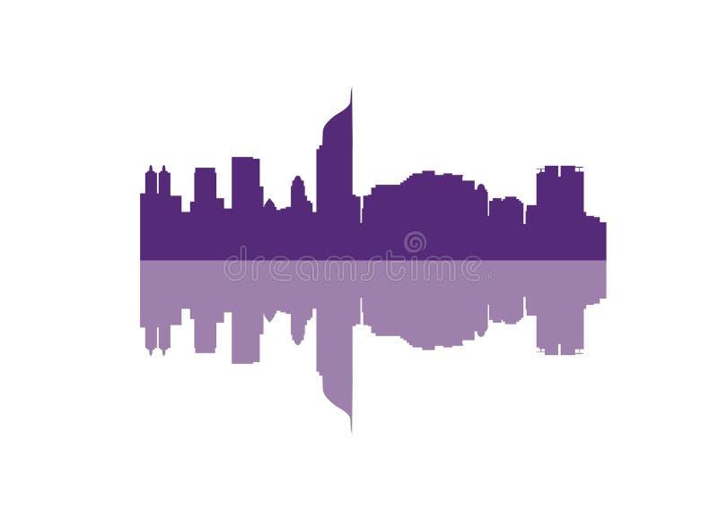 Silhouette of Skyline Jakarta City stock illustration