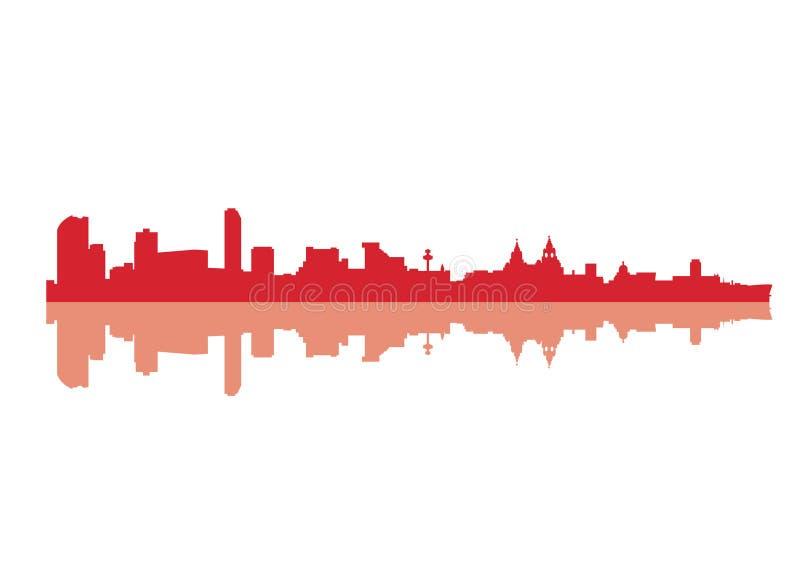 Silhouette of Skyline Liverpool City stock illustration