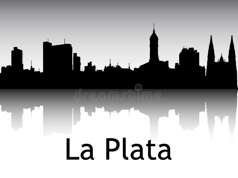 Silhouette Skyline Panorama från La Plata Argentina royaltyfri illustrationer