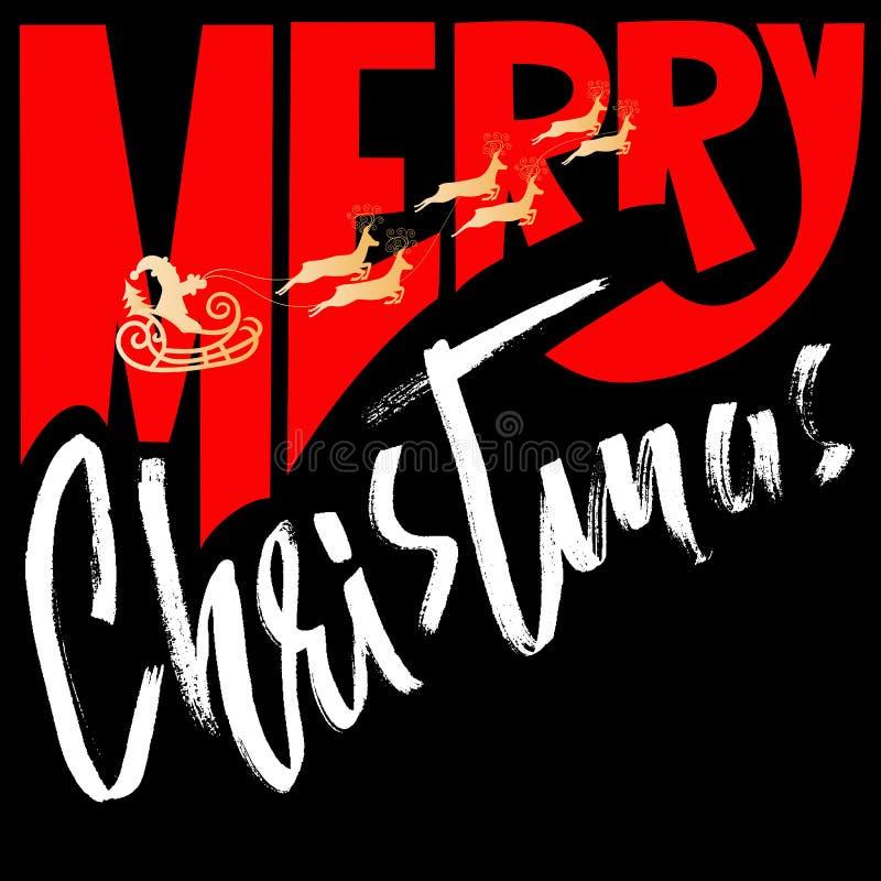 Silhouette Sleigh of Santa Claus and Reindeers. Merry Christmas handwritten modern dry brush lettering. Vector. Inscription stock illustration