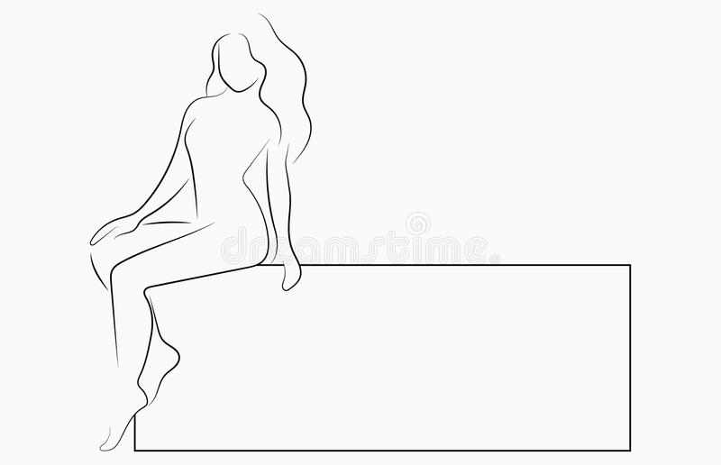 Silhouette of a slender girl with a frame for text. Linear outline of a woman with a board. Black and white drawing stock illustration