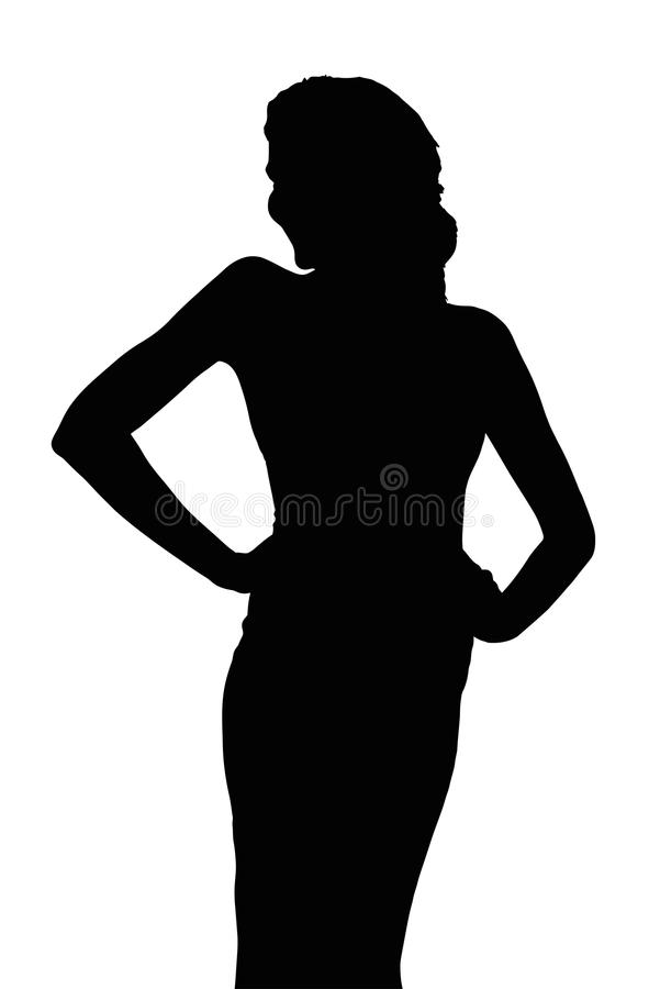 Silhouette of Slim Girl Posing at Beauty Pageant stock illustration