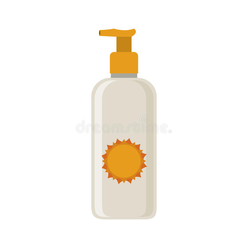 Silhouette with small bottle of sunscreen. Vector illustration stock illustration