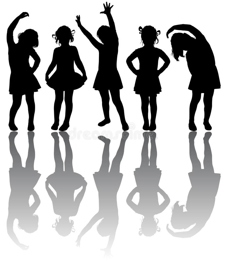 Download Silhouette of small girls stock vector. Image of child - 13000751
