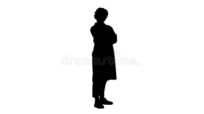 Silhouette Smiling confident young woman doctor standing with arms crossed over. stock illustration
