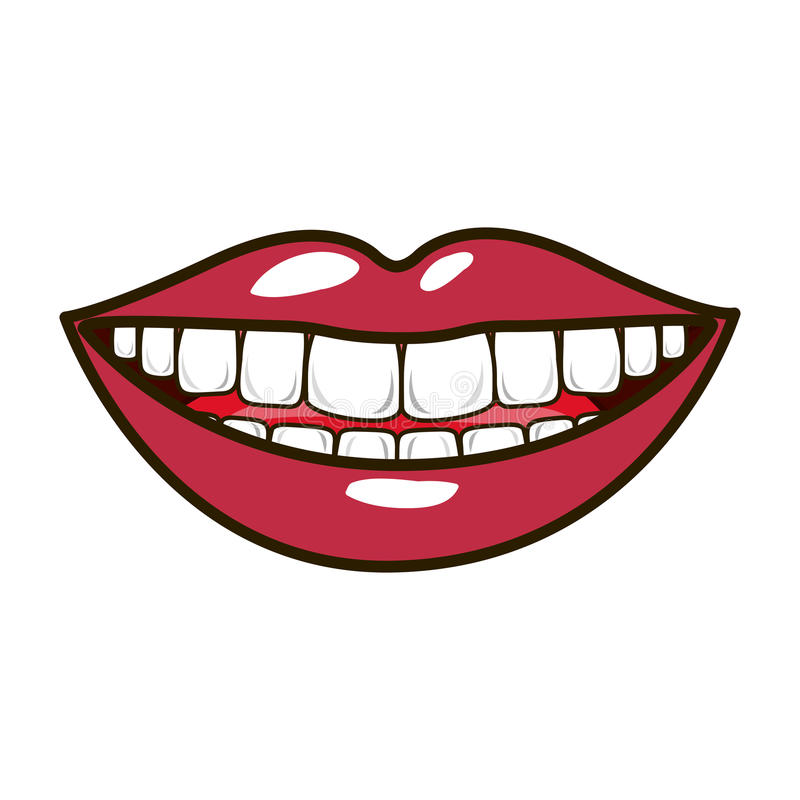 Silhouette smiling lips with teeths and tongue royalty free illustration