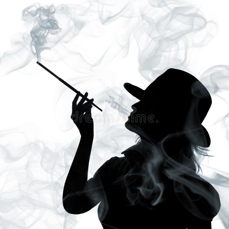 Silhouette of smoking woman isolated