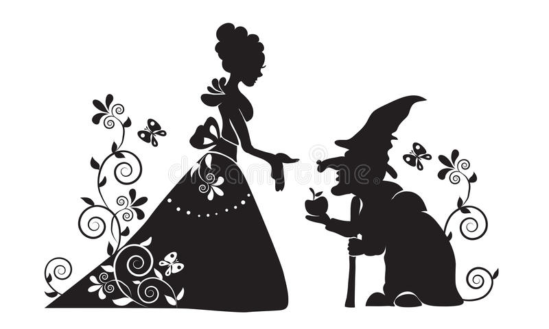 The silhouette of Snow white and the evil witch. Black and white simplified drawing. A scene from the tale. Snow White and the seven dwarfs royalty free illustration