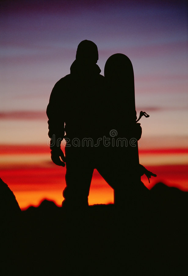 Download Silhouette Of  Snowboarder Against Sunset Stock Image - Image: 6077111