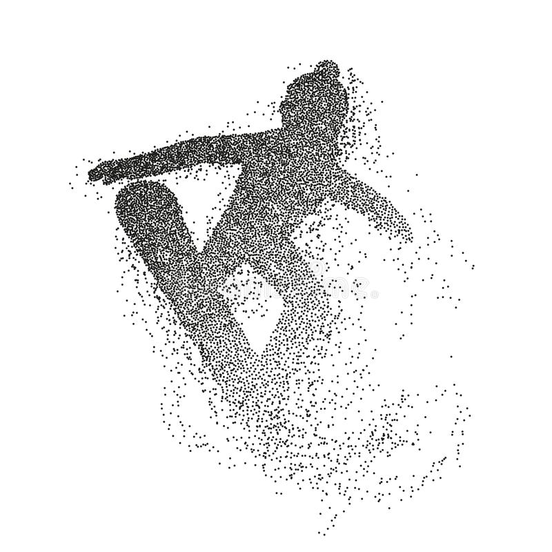 Silhouette of a snowboarder jumping. Divergent particles illustration. royalty free illustration