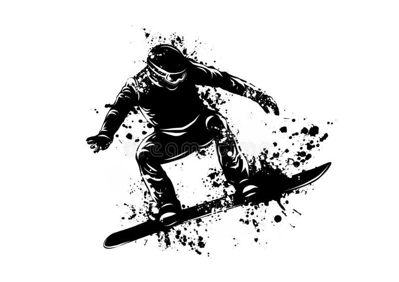 Silhouette of a snowboarder jumping. Vector illustration vector illustration