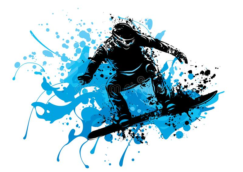 Silhouette of a snowboarder jumping. Vector illustration royalty free illustration