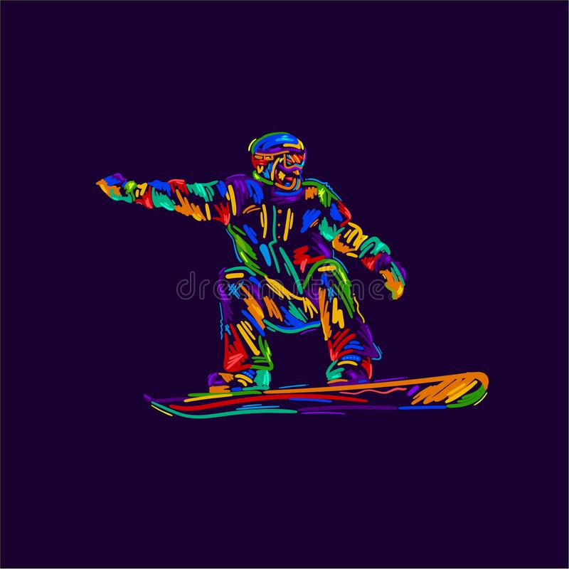 Silhouette of a snowboarder jumping isolated. Background and text on a separate layer, color can be changed in one click. Vector i stock illustration