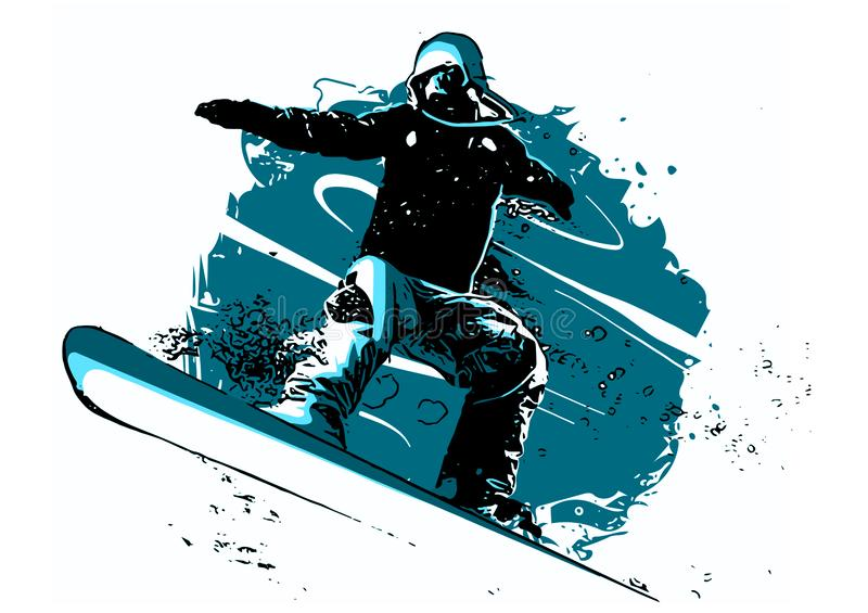Silhouette of a snowboarder jumping isolated. illustration stock illustration