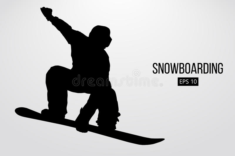 Silhouette of a snowboarder jumping isolated. Vector illustration stock illustration