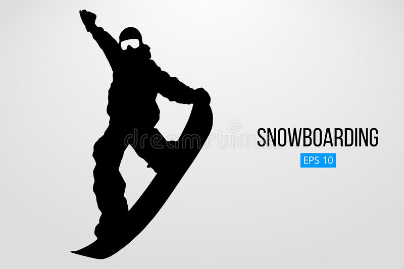 Silhouette of a snowboarder jumping isolated. Vector illustration. Silhouette of a snowboarder jumping isolated. Background and text on a separate layer, color