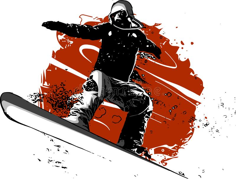 Silhouette of a snowboarder jumping isolated. Vector illustration royalty free illustration