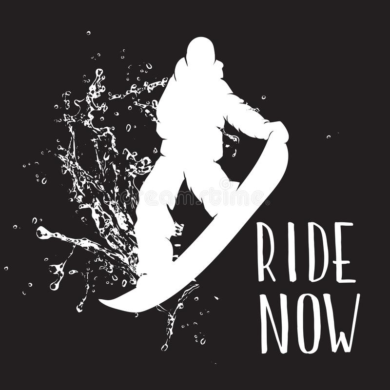 Silhouette of a snowboarder jumping isolated. Vector silhouette of a snowboarder with spray of snow royalty free illustration