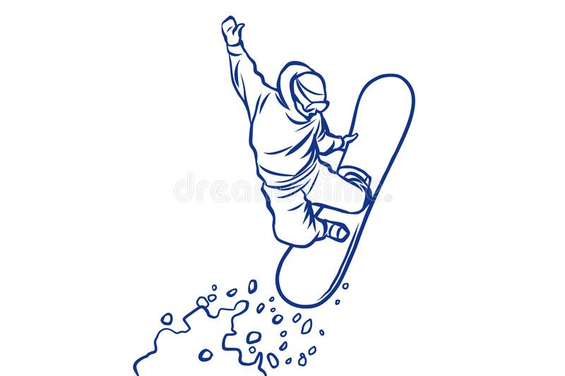 Silhouette snowboarder jumping on a snowboard, winter sports vector illustration