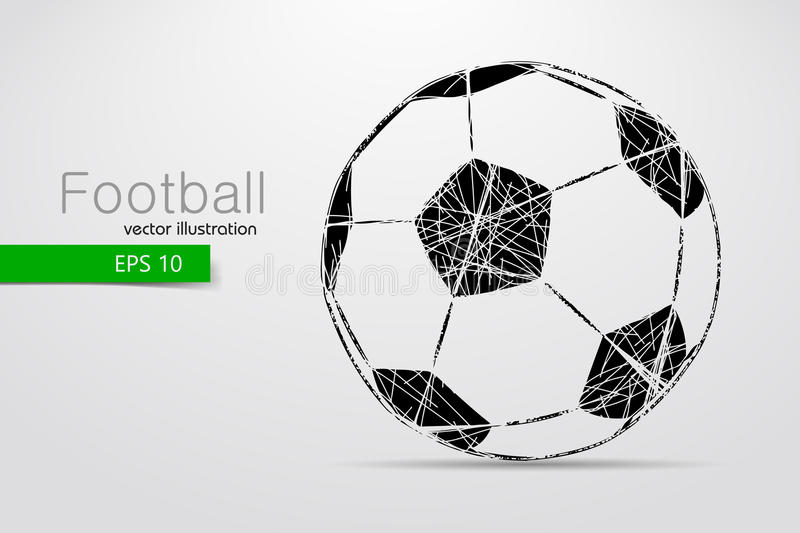 Silhouette of a soccer ball. Text and background on a separate layer, color can be changed in one click stock illustration