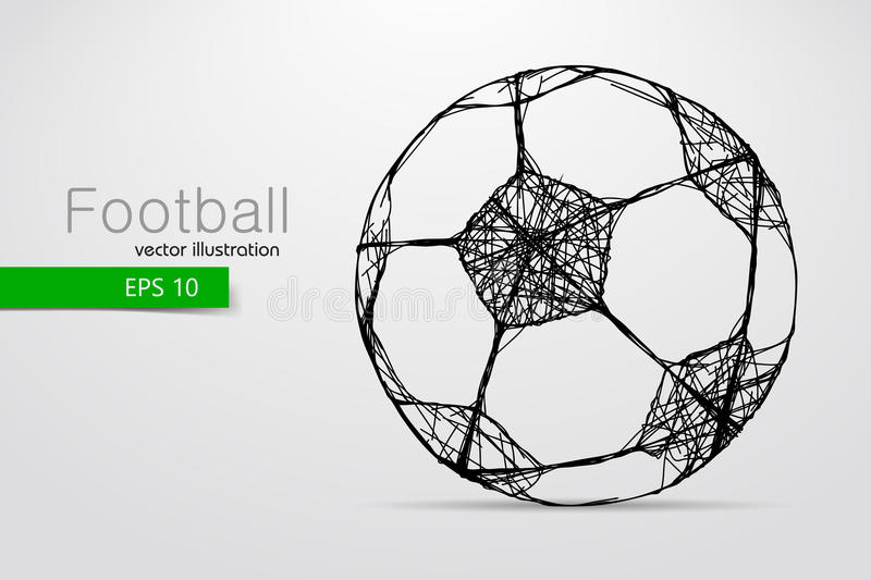 Silhouette of a soccer ball. Text and background on a separate layer, color can be changed in one click vector illustration