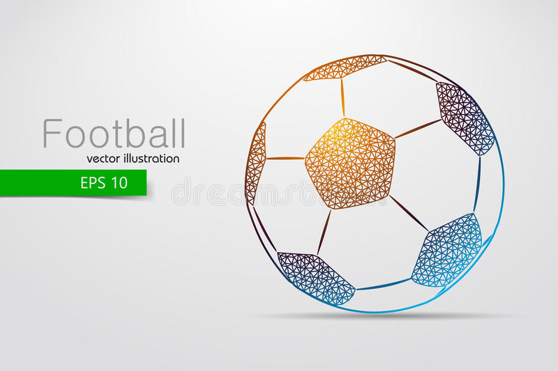 Silhouette of a soccer ball from triangles. Text and background on a separate layer, color can be changed in one click royalty free illustration