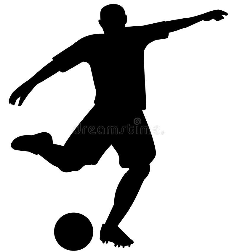 Silhouette of soccer player stock image