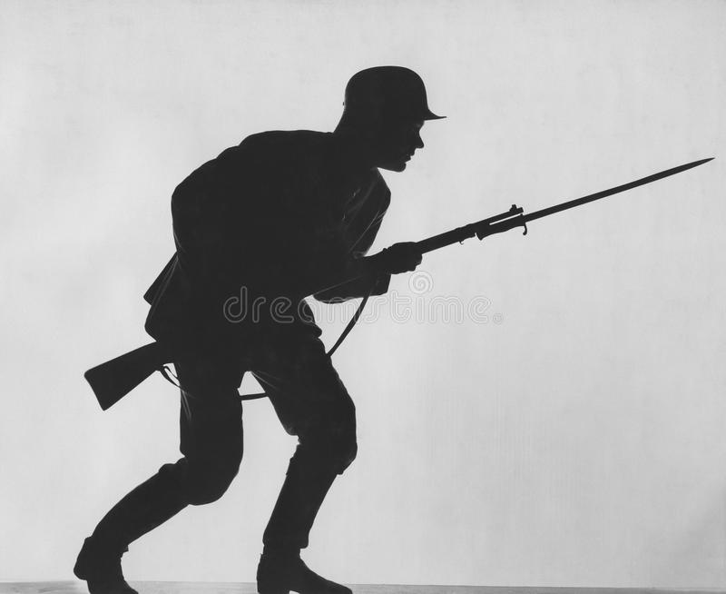 Silhouette of a soldier royalty free stock image