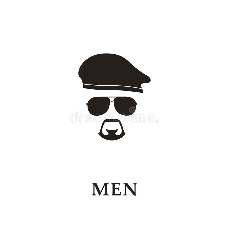 Silhouette soldier with beret, sunglasses and goatee. Vector illustration stock illustration