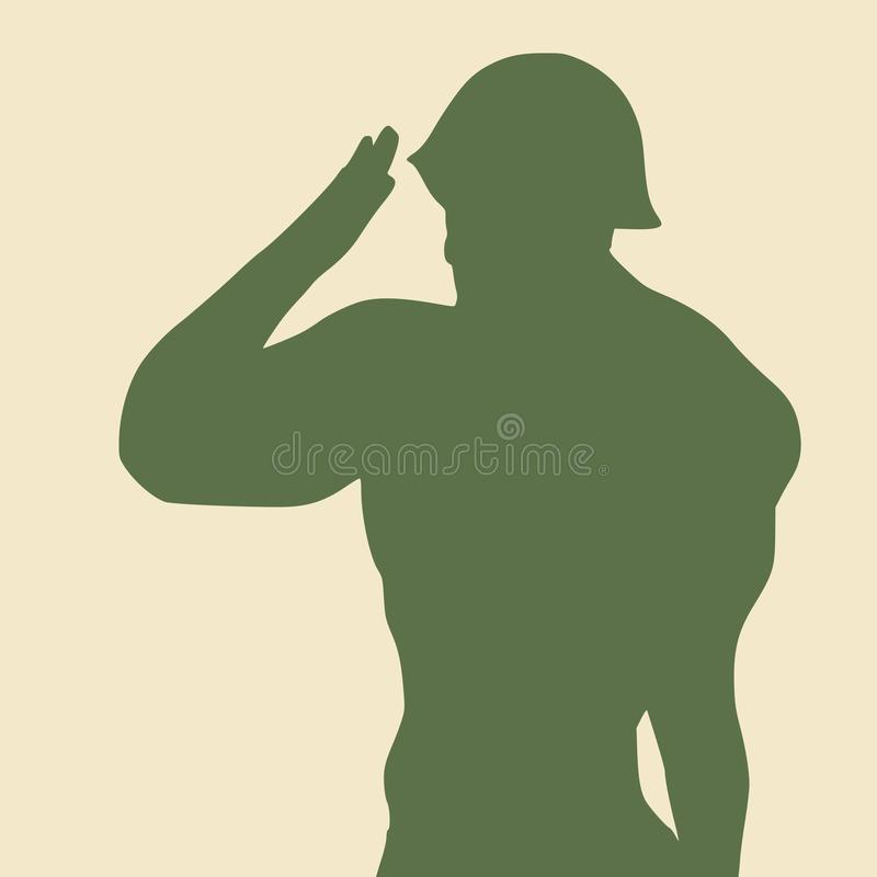 Man in military uniform. Silhouette of a soldier. Man wearing helmet royalty free illustration
