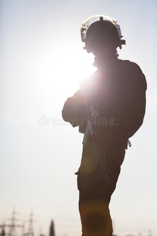 Silhouette of soldier. Silhouette of special forces operators with weapons royalty free stock images