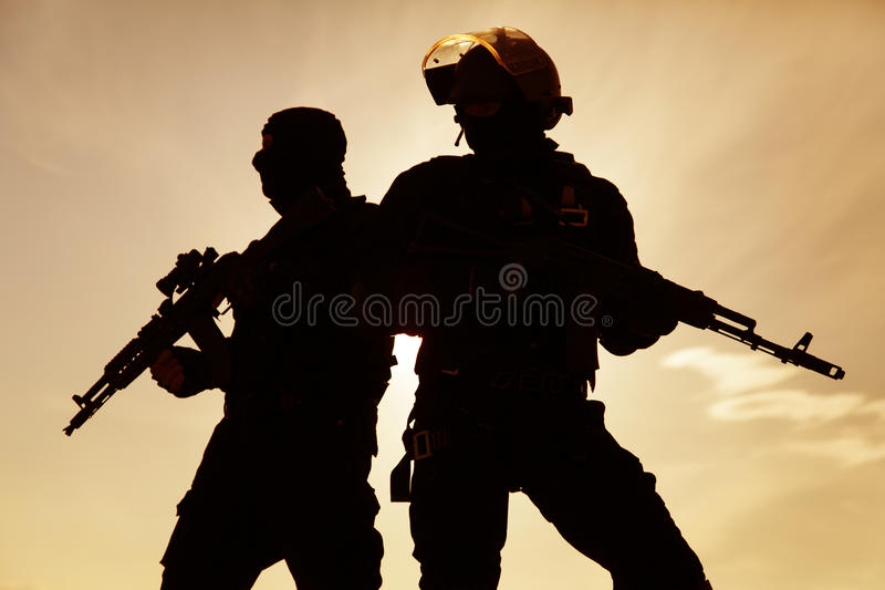 Silhouette of soldier royalty free stock image