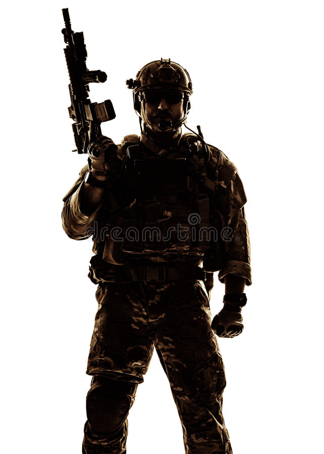 Silhouette of soldier royalty free stock images