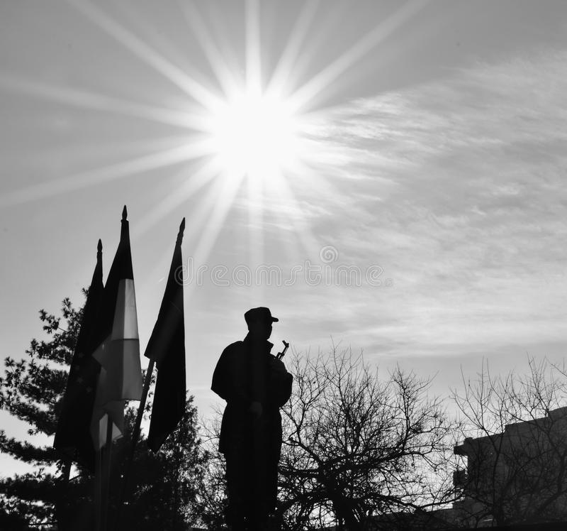 Silhouette of the soldier stock photo