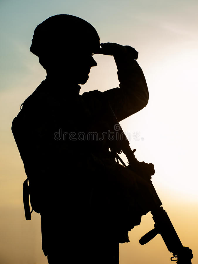 Silhouette of soldier stock photography
