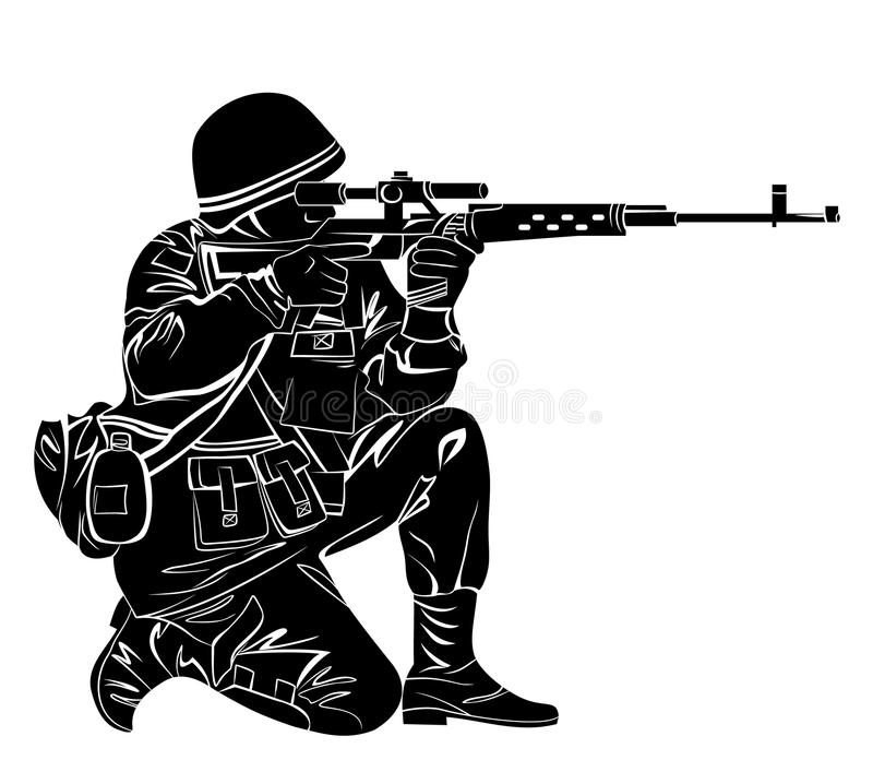 Silhouette of a soldier. Vector illustration of a soldier shooting from the gun stock illustration