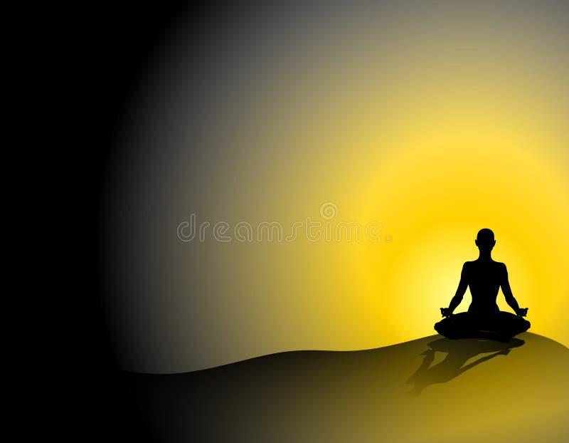 silhouette solnedgångyoga stock illustrationer