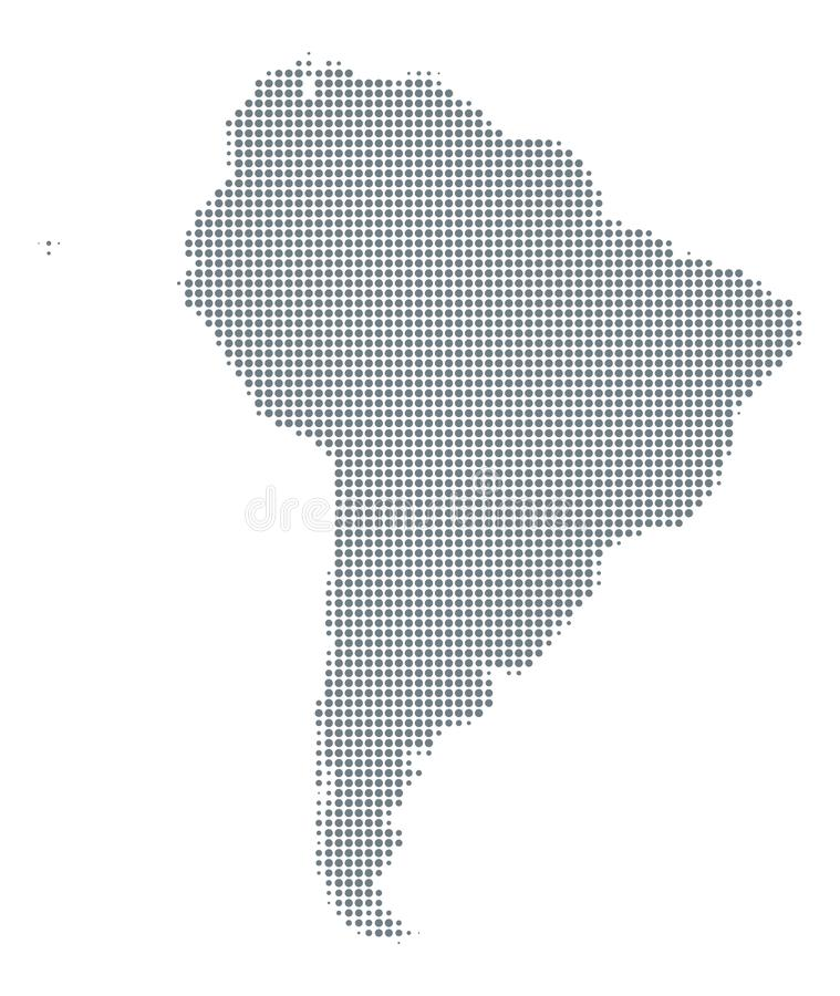 Silhouette of South America, gray halftone dots stock illustration
