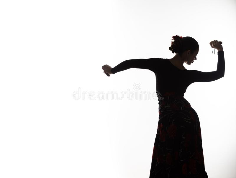 Silhouette of spanish girl flamenco dancer on a light background. free space for your text. Silhouette of spanish girl flamenco dancer on a light background stock image