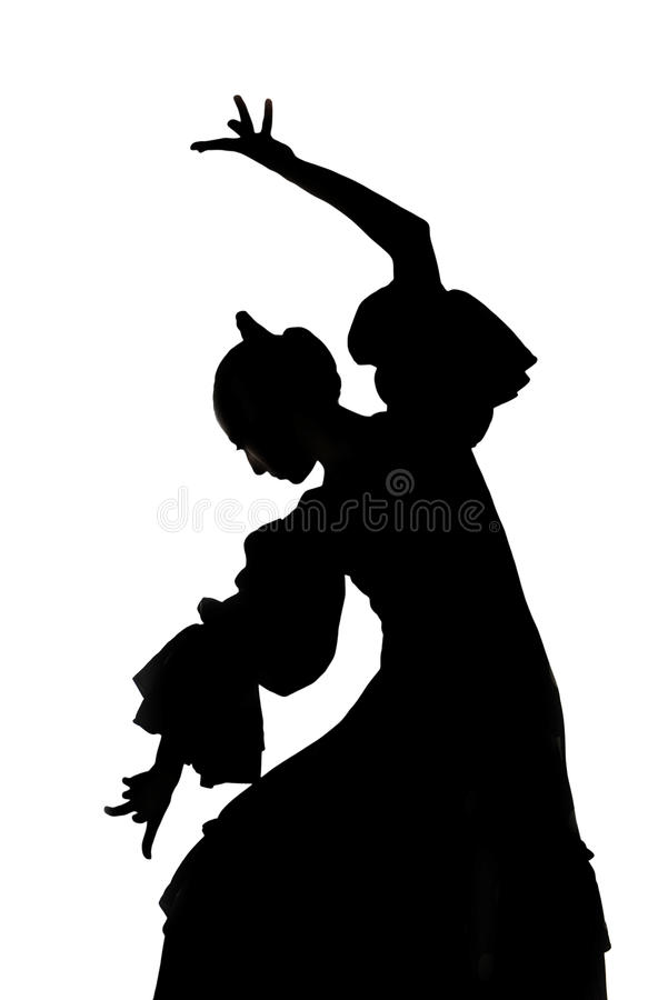 Silhouette of Spanish woman Flamenco dancer dancing Sevillanas. In gypsy dress and comb in traditional Dance of Spain concept performing show isolated on white royalty free stock photo