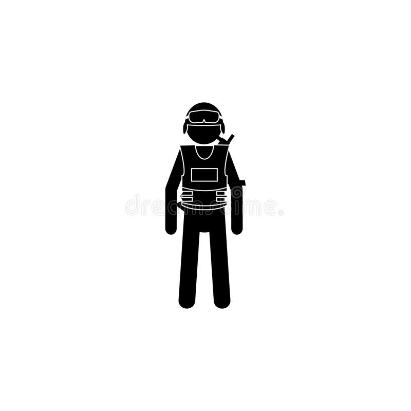 Silhouette special officers SWAT in black uniform icon. Special services element icon. Premium quality graphic design icon. Profes royalty free illustration
