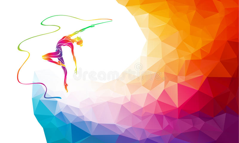 Silhouette of spectrum color gymnastic girl with ribbon. Creative silhouette of gymnastic girl. Art gymnastics with ribbon, colorful vector illustration with royalty free illustration