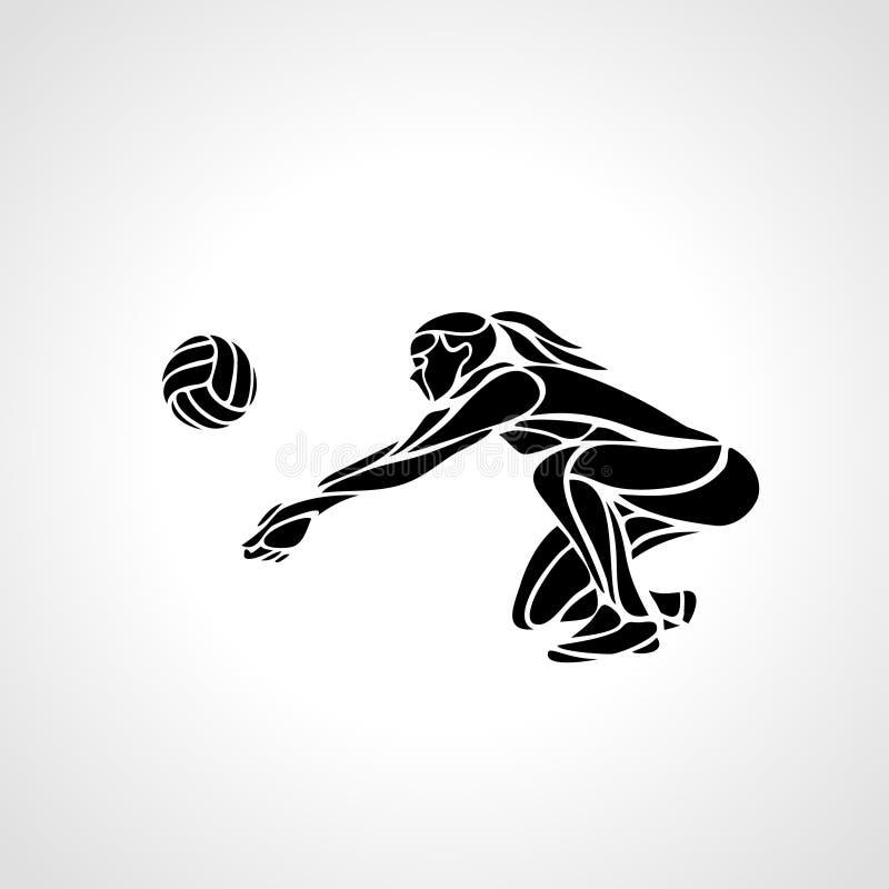 Silhouette-spelare i volleyboll för kvinnor som passerar boll Vector eps10 royaltyfri illustrationer