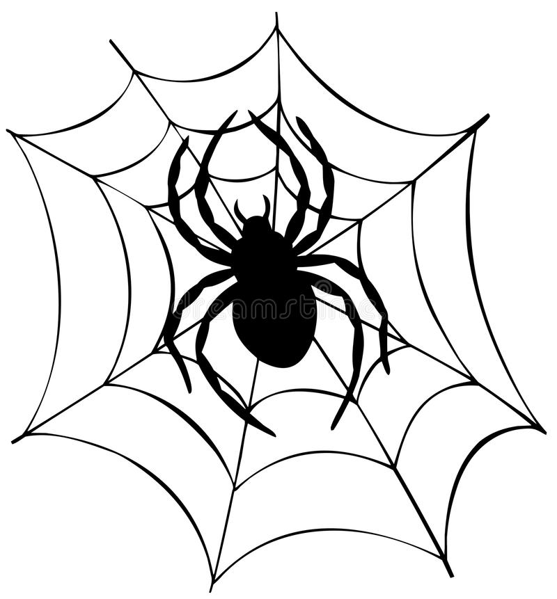 Silhouette of spider in web stock illustration