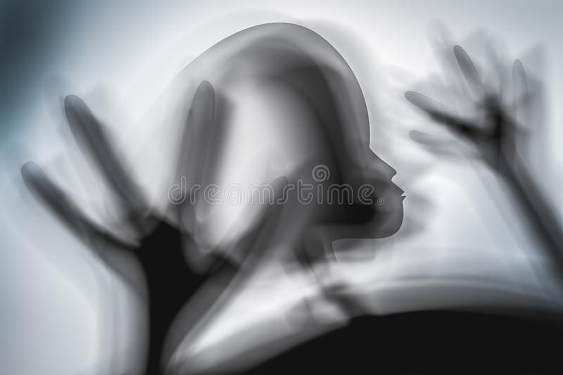 Silhouette of spooky alien and bright light on behind him. UFO concept vector illustration