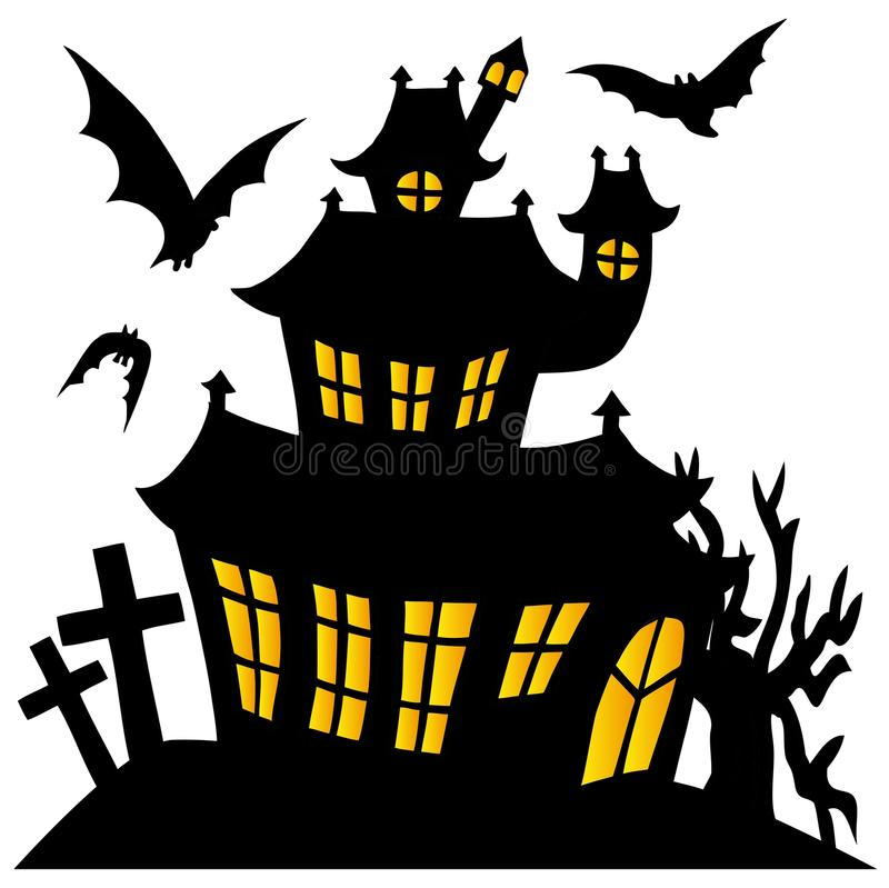 Free Silhouette Spooky House 01 Stock Image - 34548721