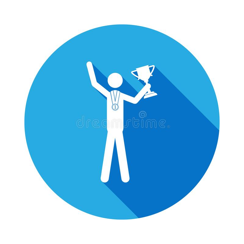 Silhouette sport winner athlete isolated icon with long shadow. Winter sport games discipline signs and symbols can be used for vector illustration
