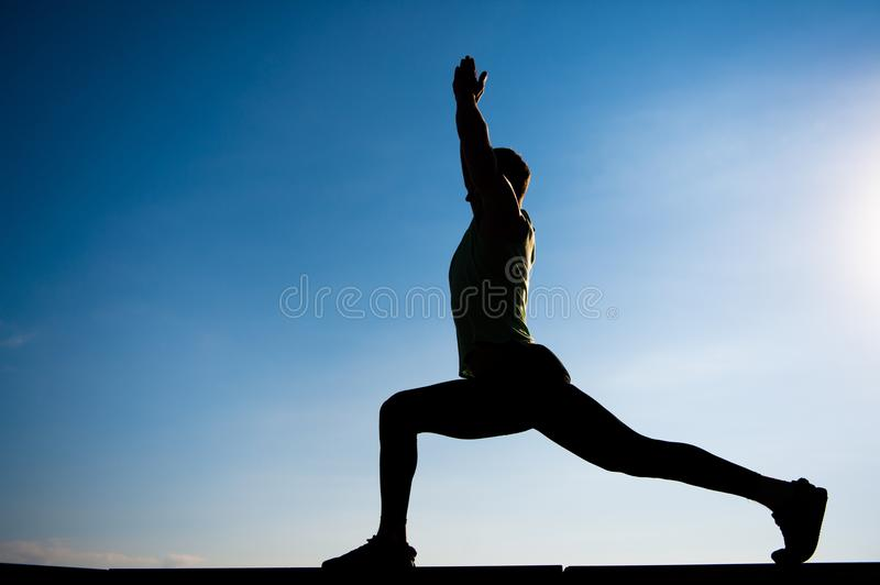 Silhouette of sportsman stock image