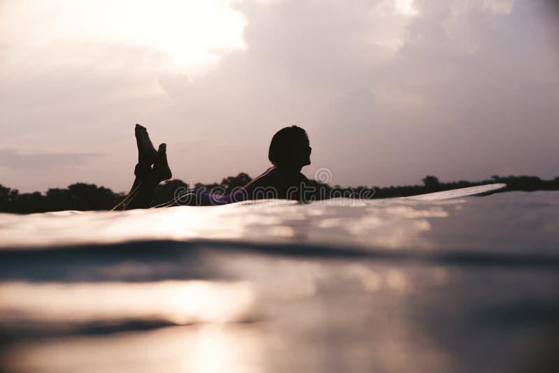 silhouette of sportswoman lying on surfing board in ocean stock image